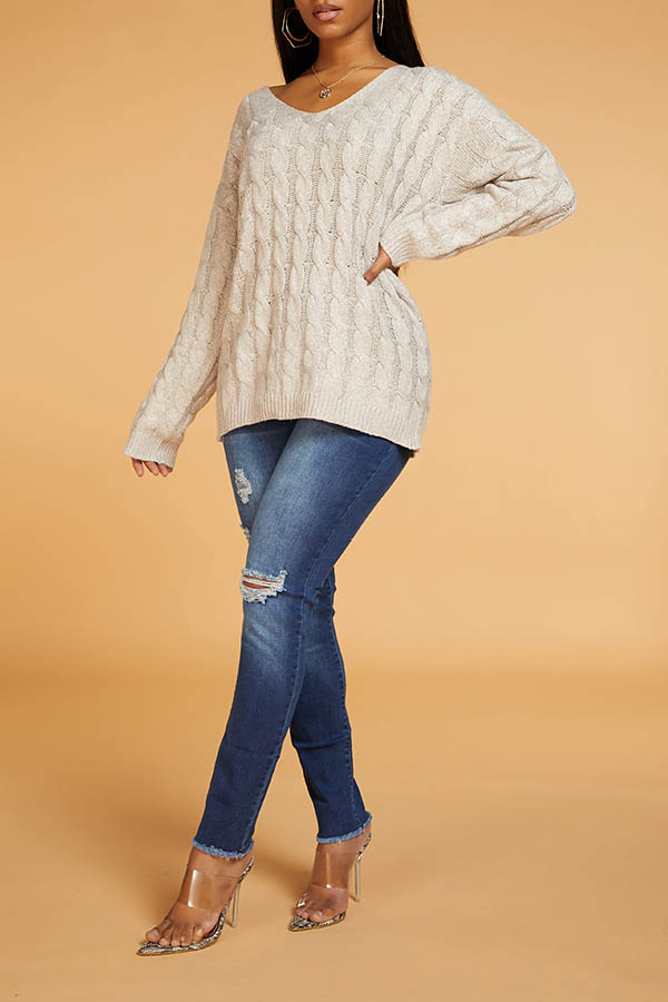 Lovely Leisure Basic Light Tan Sweater