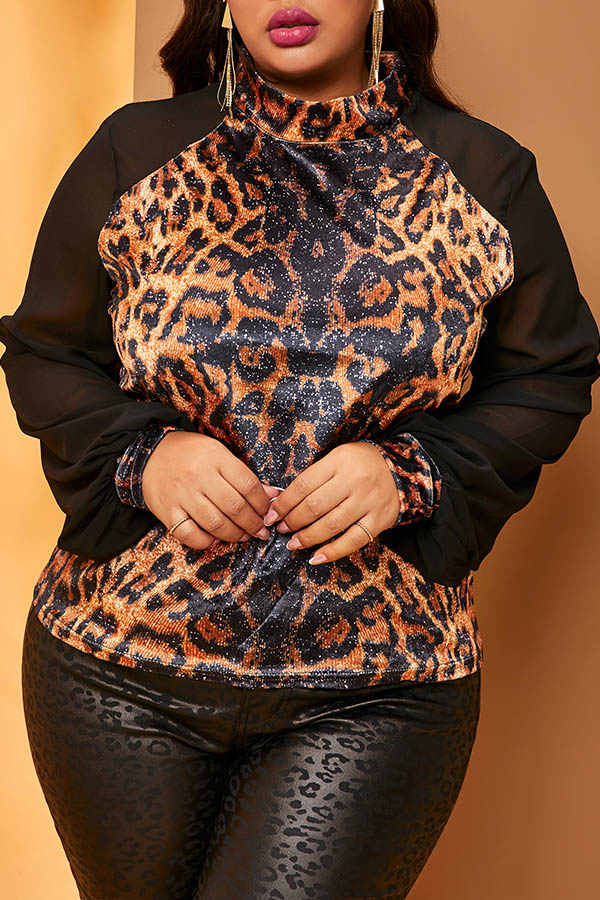 Lovely Casual Patchwork Print Brown Plus Size Blouse