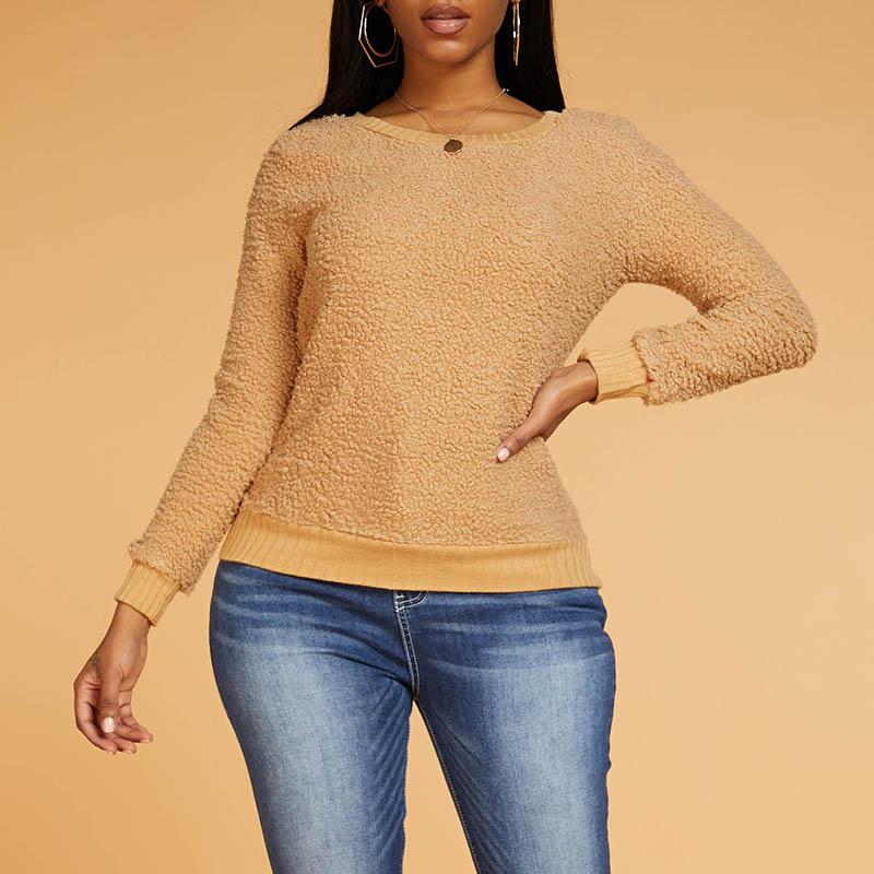Lovely Casual O Neck Khaki Sweater
