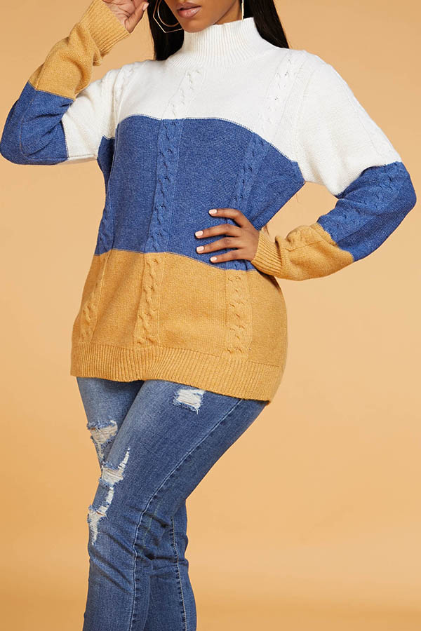 Lovely Casual Color-lump Multicolor Sweater