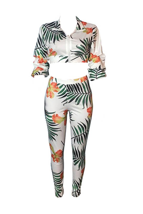 Lovely Bohemian Print Crop Top White Two-piece Pants Set