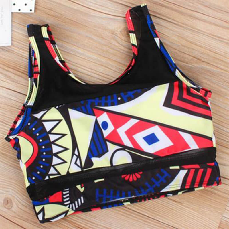 Lovely Charming Round Neck Print Two-piece Swimsuit