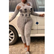 Lovely Casual Hollow-out Grey Plus Size Two-piece