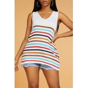 Lovely Chic V Neck Sleeveless Striped White Sweate