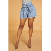 Lovely Work Lace-up Blue Shorts