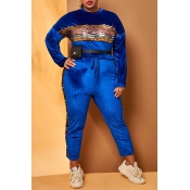 Lovely Casual Patchwork Blue Plus Size Two-piece P
