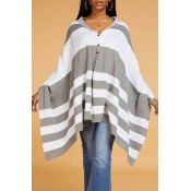 Lovely Casual Striped Loose Grey Sweater