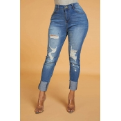 Lovely Chic Hollow-out Blue Jeans