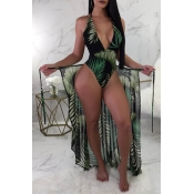 Lovely Print Blackish Green One-piece Swimsuit(Wit