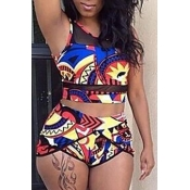 Lovely Lovelywholesale Charming Round Neck Print Two-piece Swimsuit