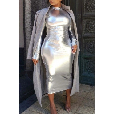 Lovely Party Skinny Silver Mid Calf Dress