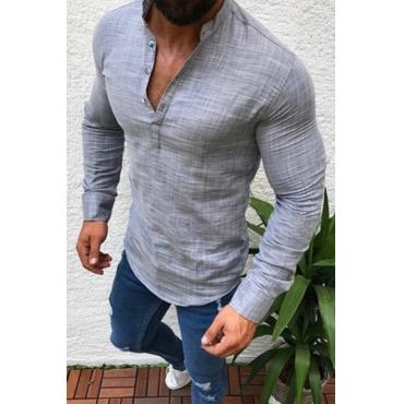 Lovely Casual Basic Grey Shirt