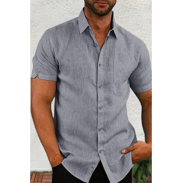 Lovely Casual Turndown Collar Short Sleeve Basic Grey Shirt