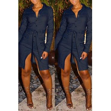 Lovely Casual Turndown Collar Button Blue Knee Length Dress