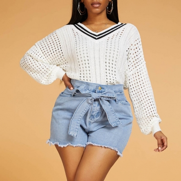Lovely Leisure Hollow-out White Sweater