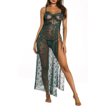 Lovely Sexy Lace See-through Blackish Green Gowns