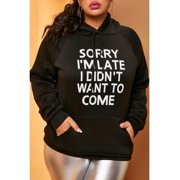 Lovely Casual Letter Black Plus Size Hoodie