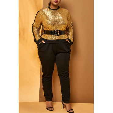 Lovely Casual Patchwork Gold  Plus Size Two-piece Pants Set