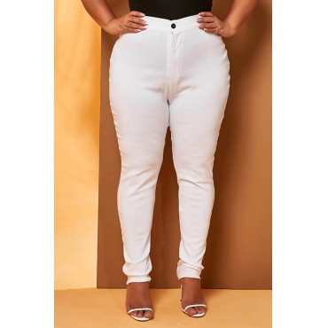 Lovely Casual Skinny White Plus Size Jeans