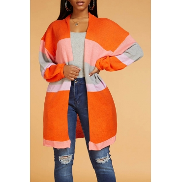 Lovely Casual Color-lump Orange Cardigan