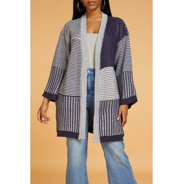 Lovely Casual Patchwork Dark Blue Cardigan