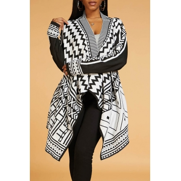 Lovely Casual Geometric Black Cardigan