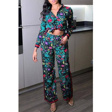 Lovely Casual Floral Print Multicolor Two-piece Pants Set