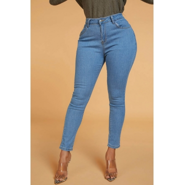 Lovely Chic High Waist Blue Denim Pants