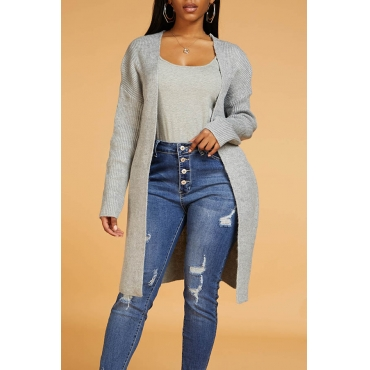 Lovely Casual Long Sleeve Light Grey Cardigan