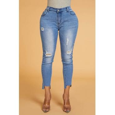 Lovely Trendy Mid Waist Broken Hole Blue Jeans