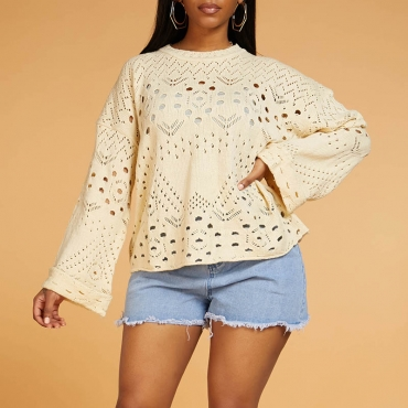 Lovely Leisure O Neck Hollow-out Beige Sweater