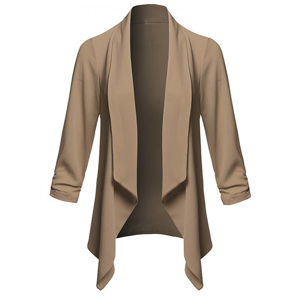 Lovely Casual Lapel Khaki Plus Size Blazer