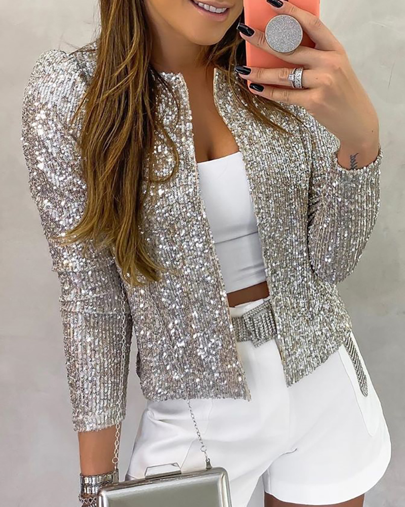 Lovely Casual Basic Short Silver Coat