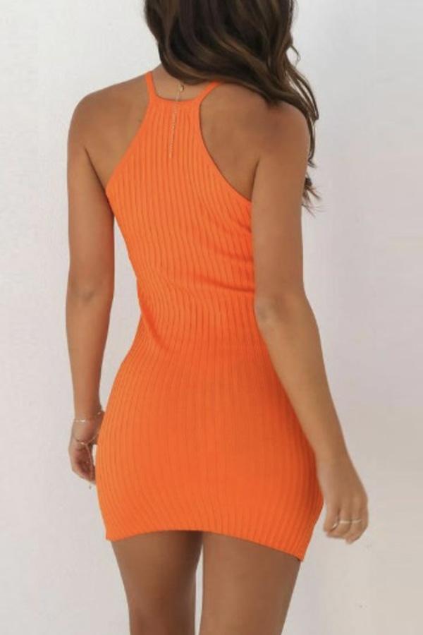 Lovely Casual Vests Skinny Orange Mini Dress