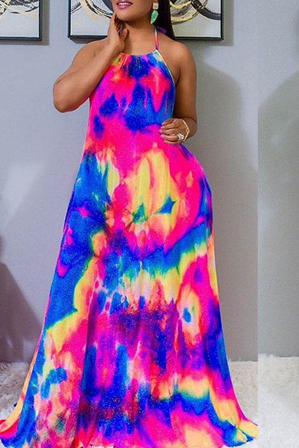 Lovely Casual Spaghetti Strap Print Multicolor Maxi Dress