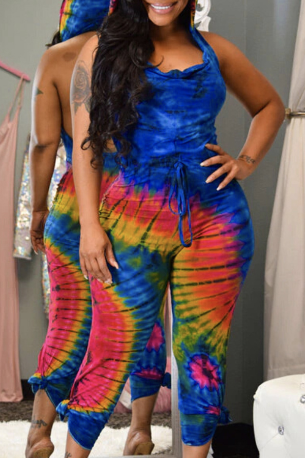 Lovely Casual Print Blue One-piece Jumpsuit фото