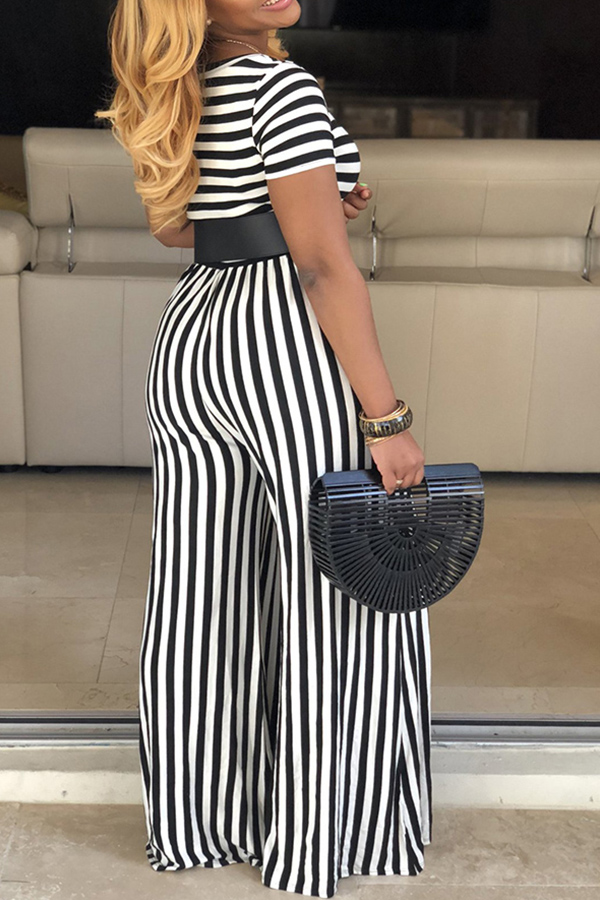 Lovely Casual Striped Black One-piece Jumpsuit