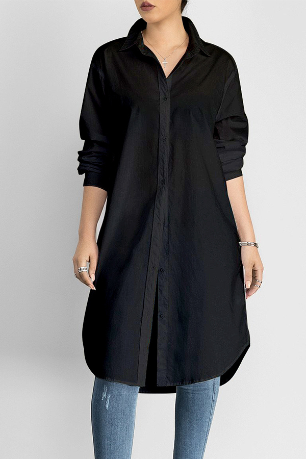 Lovely Casual Long Button Design Black Blouse