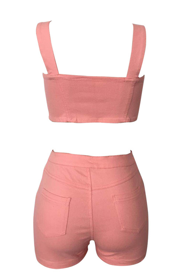 Lovely Casual Button Pink Two-piece Shorts Set