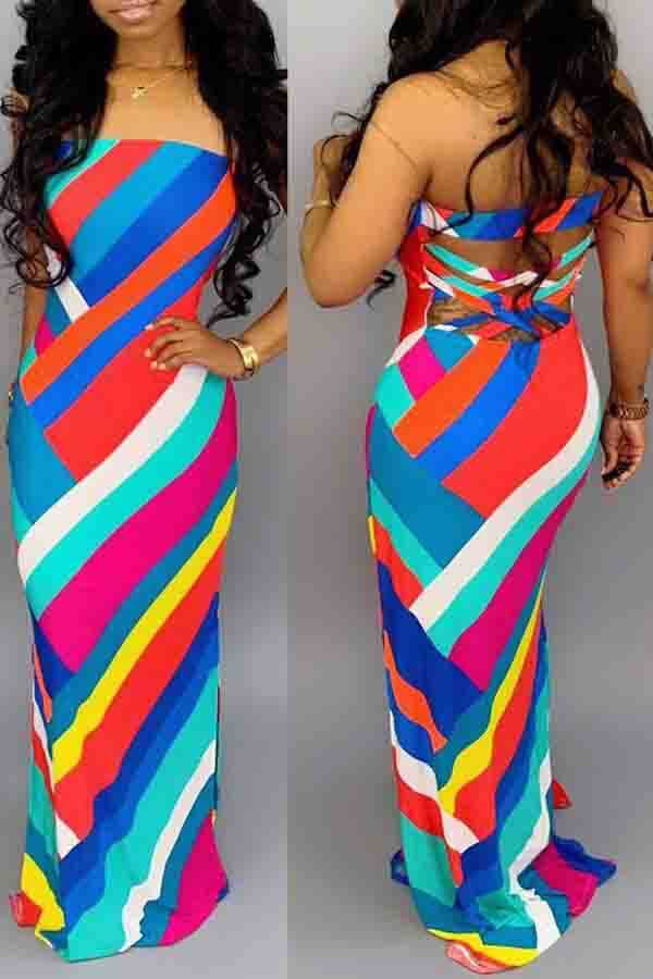 Lovely Sweet Striped Skinny Multicolor Maxi Dress