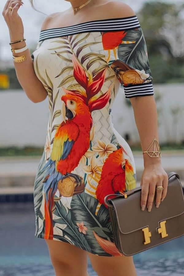 Lovely Chic Striped Print Multicolor Mini Dress