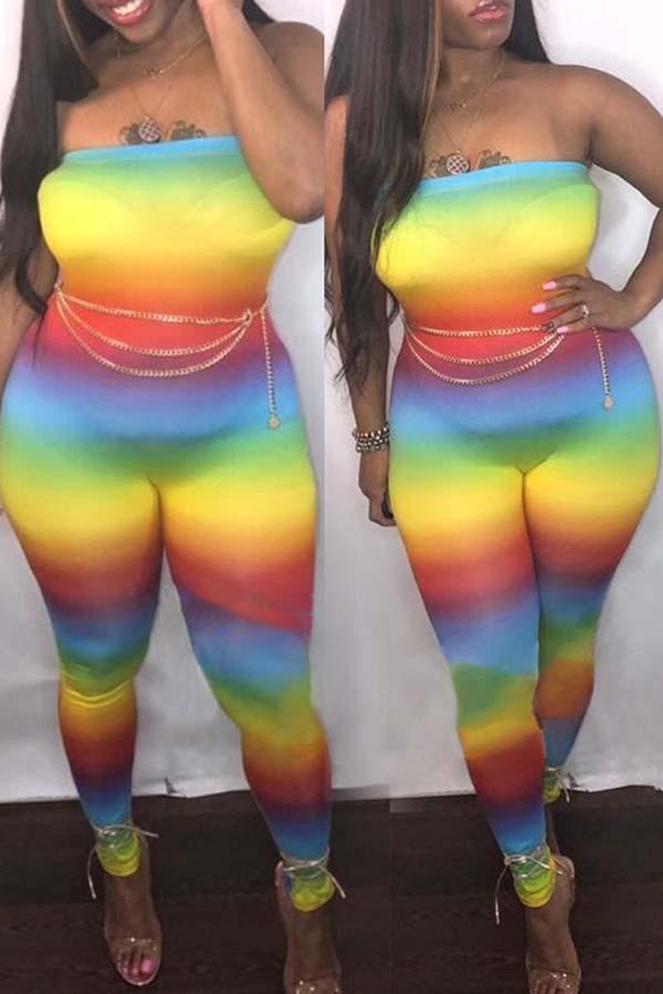 Lovely Bohemian Dew Shoulder Multicolor One-piece Jumpsuit