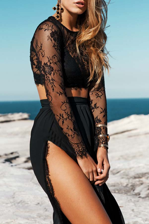 Lovely Sexy Embroidery Slit Black Two-piece Skirt Set