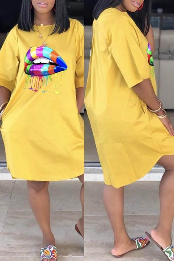 Daily Dress Lovely Casual Lip Print Yellow Knee Length Dress фото