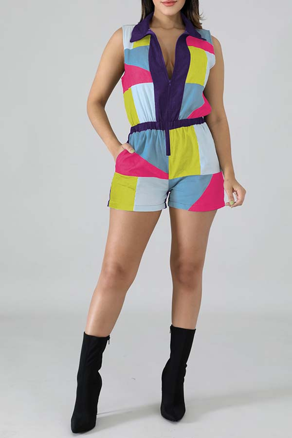 Lovely Casual Patchwork Multicolor One-piece Romper