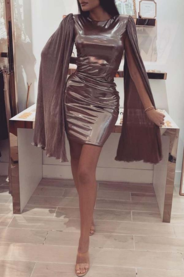 Lovely Party O Neck Flounce Brown Mini Evening Dress