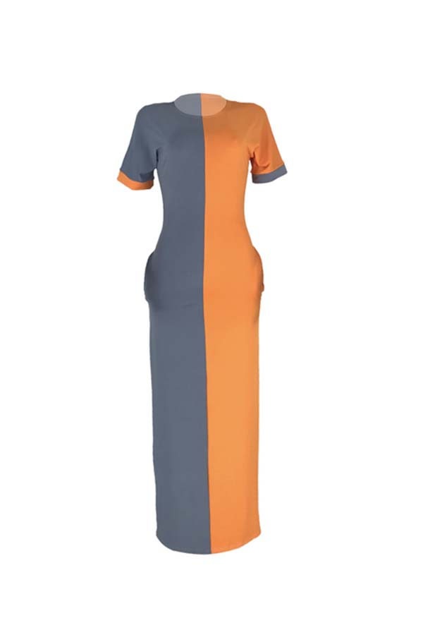 Lovely Casual Color-lump Patchwork Croci Ankle Length Dress