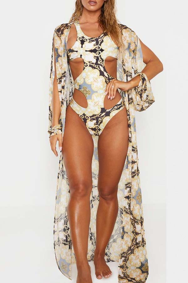 Lovely Hollow-out Multicolor One-piece Swimsuit