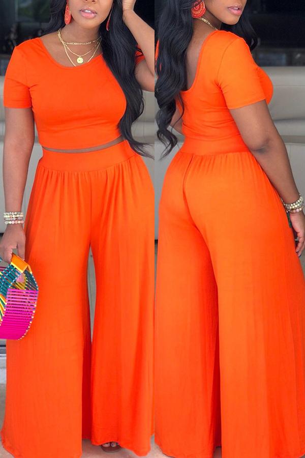 LW Casual O Neck Orange Two-piece Pants Set