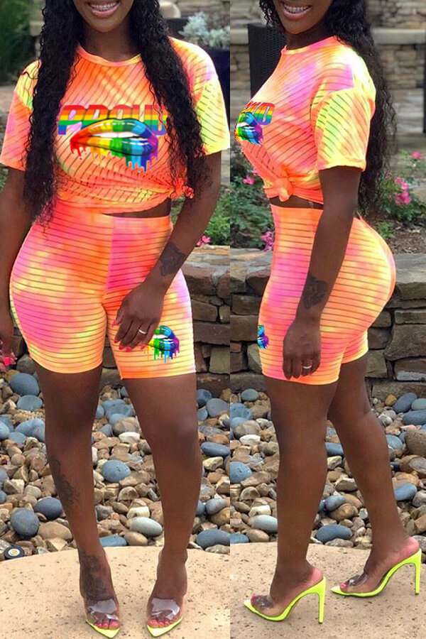Lovely Casual O Neck Print Orange Two-piece Shorts Set
